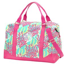"""Great for travel, gym bag or over night fun! FREE monogram! - 20"""" L x 10.5"""" W x 16.5"""" H - Polyester - Leatherlike Material Trim - Zipper Closure, Inside Zipper Pocket - Adjustable / Removable Shoulder"""