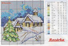 Christmas cottage Cross Stitch Christmas Cards, Xmas Cross Stitch, Cross Stitch Cards, Christmas Cross, Cross Stitching, Cross Stitch Embroidery, Cross Stitch Designs, Cross Stitch Patterns, Pinterest Cross Stitch