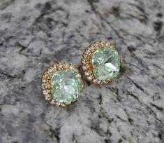 Mint Green Earrings Sparkle Swarovski Crystals  by jewelrybyirina