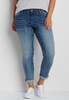 plus size skinny jeans in medium wash   maurices