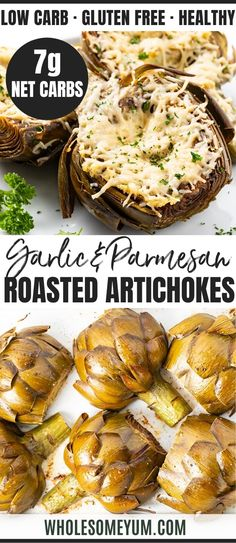 Easy Roasted Artichokes Recipe With Garlic & Parmesan - The easiest, most delicious method for how to roast artichokes! These roasted artichoke halves are seasoned simply with lemon, garlic and olive oil, and finished with a layer of parmesan. Roasted Artichoke Recipe, Roasted Artichokes, Baked Artichoke, Artichoke Recipes, Recipes With Artichokes, Best Artichoke Recipe, Real Food Recipes, Great Recipes, Cooking Recipes