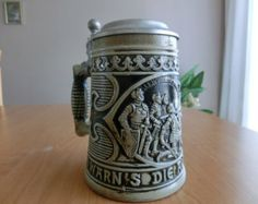 German Beer Stein Gerz Pottery with Pewter Lid and rare relief with knights accolade