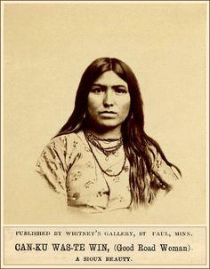 Sioux+Women | Sioux woman, CAN-KU WAS-TE WIN (Good Road Woman), wearing dress and ...