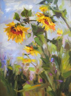 (Canada) Sunflower field by Mary Maxam. Watercolor Flowers, Watercolor Paintings, Painting Flowers, Sunflower Art, Skulls And Roses, Flower Oil, Painting Inspiration, Cool Art, Canvas Art