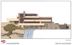 Frank Lloyd Wright - FallingWater South Elevation