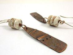 Rustic Folded Copper Earrings