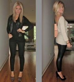 going out outfit, leggings, sweater, leather jacket