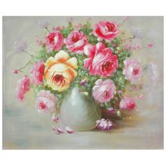 Hand-Painted Peonies Boutonniere Canvas Art (China) | Overstock.com