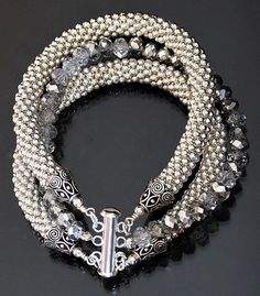3 Strand Silver Metal Bead Crochet Rope and Crystal Bangle Bracelet