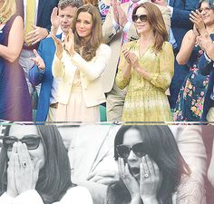 """Crown Princess Mary of Denmark enjoys a """"girls day out"""" with the Duchess of Cambridge watching a game from the Royal Box in Wimbledon, along with her husband Crown Prince Frederik."""