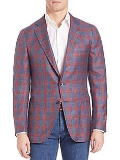 ISAIA Plaid Sportcoat - Navy-Red