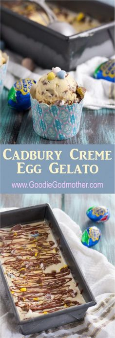 Homemade gelato is ultra creamy, sweet, and this version is a unique make ahead dessert to serve in springtime! Cadbury creme egg gelato i. Ice Cream Desserts, Frozen Desserts, Ice Cream Recipes, Frozen Treats, Make Ahead Desserts, Fun Desserts, Delicious Desserts, Yummy Food, Dessert Blog
