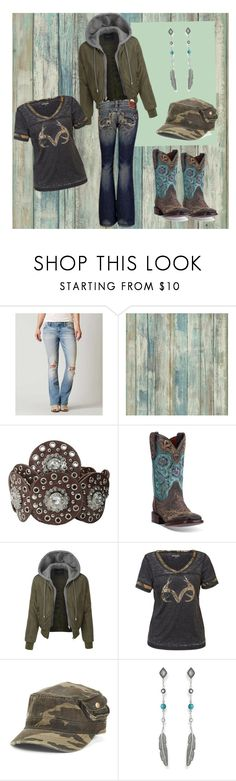 """""""Outdoors Women"""" by backwoodsbaby ❤ liked on Polyvore featuring RoomMates Decor, M&F Western, Dan Post, LE3NO, Realtree, Thomas Sabo and Big Star"""