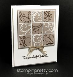 Falling Flowers stamp set friend card idea.  Mary Fish, Stampin' Up! Demonstrator.  1000+ StampinUp & SUO card ideas.  Read more https://stampinpretty.com/2017/04/nutty-about-neutrals-friend-card.html