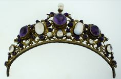 Victorian C 1900 Austro Hungarian Silver Amethyst Pearl Moonstone Tiara Crown Edwardian Jewelry, Antique Jewelry, Vintage Jewelry, Royal Crowns, Tiaras And Crowns, Art Nouveau, Circlet, Royal Jewelry, Hair Ornaments