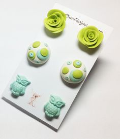 Earrings, Owl Post Earrings, Rose post Earrings, Polka Dot Earrings, clay jewelry, March, Spring Colors, Blue and Green on Etsy, $15.00