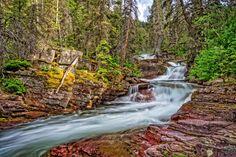 Rapids on Virginia Creek - Virginia Creek rapids flow down from Virginia Creek Falls in Glacier National Park, Montana