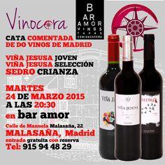 ¿Sabías que #Madrid tiene su propia Denominación de Origen de #Vino? Descubre esto y mucho más con Bodegas Muñoz Martín de DO Vinos de Madrid en el Bar Amor (Malasaña)  CATA COMENTADA  DE DO VINOS DE MADRID   VIÑA JESUSA JOVEN VIÑA JESUSA SELECCIÓN SEDRO CRIANZA  MARTES 24 DE MARZO 2015 A LAS 20:30 en bar amor Calle de Manuela Malasaña, 22 MALASAÑA,  Madrid entrada gratuita con reserva Tel: 915 94 48 29