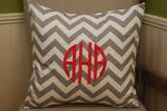 """Gray & White Chevron 20"""" Pillow with Monogram"""
