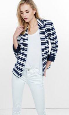 navy and white horizontal stripe knit blazer from EXPRESS