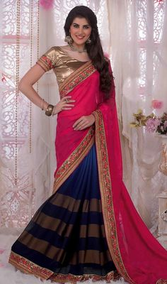 Stay ahead of the current trend donning this navy blue and pink color georgette half n half sari. The ethnic lace and resham work within the clothing adds a sign of attractiveness statement for the look. Upon request we can make round front/back neck and short 6 inches sleeves regular saree blouse also. #StunningLookGeorgetteHalfAndHalfSari