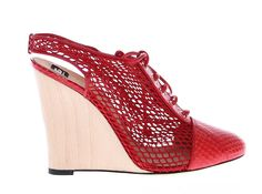 Red Snakeskin Leather Wedges Shoes