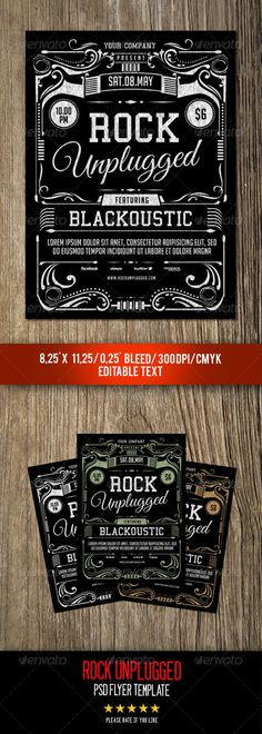 Rock Unplugged Flyer Template by gulali Flyer to promote your music, eventm band, concert, classic and retro style, help file included Featured1 psd File Print Ready 8.25
