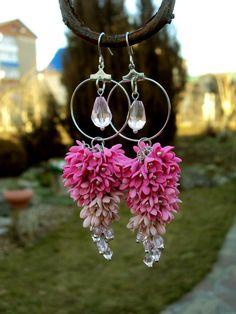 Lilac Flower Earrings Long Little Flower by Jewelrylimanska