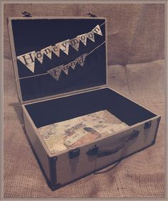 Burlap Suitcase Wedding Card Holder for Gift Table / Rustic Wedding / Honeymoon Fund