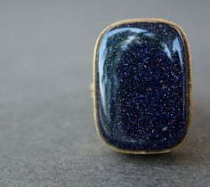 Just Dreamy----Blue Sunstone Ring  Chunky Stone Ring  Rectangular by OhKuol, $54.00
