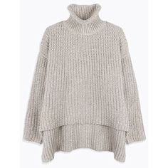 High-Low-Hem Turtle Neck Long Sleeve Sweater (€27) ❤ liked on Polyvore featuring tops, sweaters, turtleneck top, turtle neck sweater, turtle neck top, turtleneck sweater and long sleeve turtleneck
