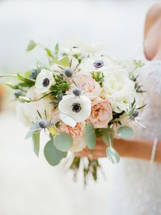 Anemone, rose, thistle, and eucalyptus wedding bouquet: Rosebud Ranch Wedding in Old Snowmass, Colorado