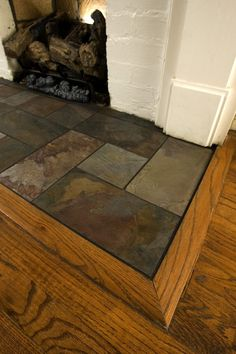 Slate fireplace hearth family room traditional with tile tile
