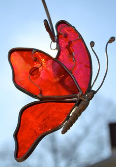 Red Butterfly in Flight Suncatcher