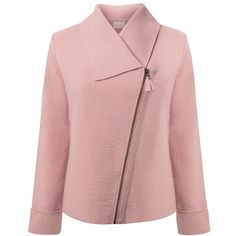 East Boiled Wool Biker Jacket (1.535.810 VND) ❤ liked on Polyvore featuring outerwear, jackets, pale pink, motorcycle jacket, asymmetrical moto jacket, red jacket, asymmetrical jacket and draped jacket