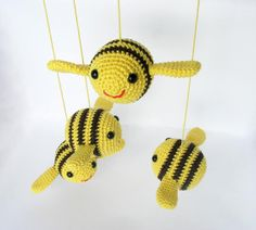 Crochet Bumble Bees Amigurumi for DIY Baby Mobile A by cherrytime, $52.00