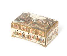 A Satsuma rectangular kogo and cover By Okamoto Ryozan, Meiji Period Japanese Porcelain, Japanese Ceramics, Japanese Pottery, Japanese Beauty, Japanese Art, Satsuma Vase, Turning Japanese, Bond Street, Interior Paint