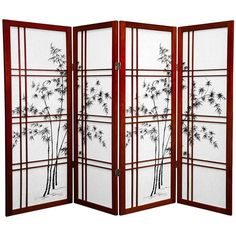 4ft Folding Screen Room Divider with Bamboo Tree in 6 Panels