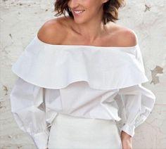 ELLE OFF SHOULDERS White Shirt Women flared blouse by UhLaLaLand