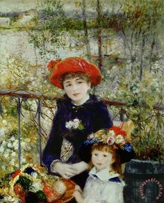 Two Sisters Painting by Pierre Auguste Renoir