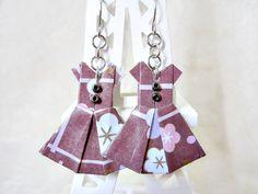 Origami Jewelry  Paper Dress Earrings  Paper by VonnesHandmadez
