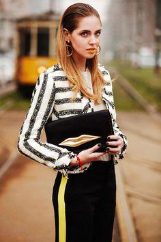 Chiara Ferragni for Vogue Spain, look II | The Blonde Salad | Yellow and black | Loubiton, Moschino, Diane von Furstenberg