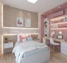 QUARTO DE MENINA | Mais um ângulo daquele quartinho lindo em tons de rosa, verde água e madeira clara. Muito amor por projetos de quarto infantil