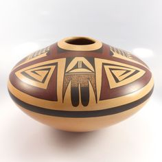 "Large Hopi ""Seed Jar"" Style Pot Hand Coiled and Traditionally Fired with Hand Painted Polychrome Designs. Native American Baskets, Native American Pottery, Native American Indians, Ceramic Pottery, Ceramic Art, Pueblo Pottery, Watercolor Paintings Abstract, Abstract Art, Indian Paintings"