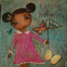 Kids Wall Art Girl Chasing Butterflies Mixed Media by hrushton, $18.00