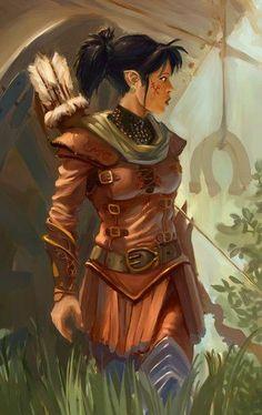f Half Elf Ranger Liking the simplistic color and design Fantasy Magic, High Fantasy, Fantasy Warrior, Fantasy Women, Fantasy Rpg, Medieval Fantasy, Dnd Characters, Fantasy Characters, Female Characters