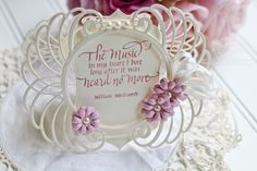 Card Making Ideas by Becca Feeken using Quietfire Design - The Music in my Heart, Spellbinders Marcheline Plume, Spellbinders Francesca Label, Spellbinders Cinch and Go Flowers II - see full supply list and links at www.amazingpapergrace.com/?p=32332