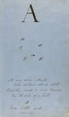"""Edward Lear, """"A"""" from Autograph Manuscript For a Pictorial Nonsense Alphabet, c.1857, pen and ink"""