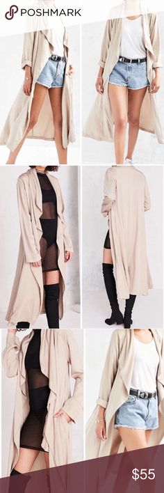 Urban UO Silence + Noise Draped Duster Open Coat Khaki colored open coat/duster from Urban Outfitters, Silence + Noise brand. New without tags, labeled small silence + noise Jackets & Coats
