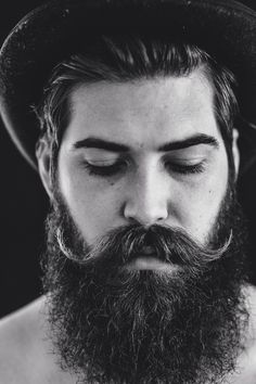 Lane Toran - black and white portrait photo full thick dark beard and huge awesome curled mustache mustaches handlebars photography handsome #beardsforever